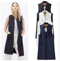 Wholesale Female Vest Styles - Women white black long vest coat Europen style waistcoat sleeveless jacket back split outwear casual top Roupa Female MJ62
