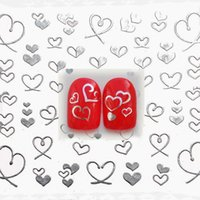 Wholesale 3d Heart Nail Art Design - Wholesale- 1 sheet Silver Hearts 3D Design Nail Art Water Stickers Manicure Polish Decals Tips DIY Beauty Tools