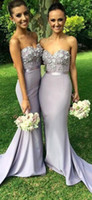 Wholesale Grey Sash For Bridesmaids Dresses - 2017 Grey Bridesmaid Dresses Sweetheart Sleeveless Mermaid Lace Appliques Junior Bridesmaid Dresses Maid Of Honor Dresses For Wedding