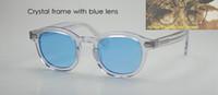 Wholesale Johnny Depp Lens - Oval Frame Retro Vintage Johnny Depp Sunglasses Crystal with Blue lens Eyeglasses Unisex Brand Designer 100%UV400 Fashion Sun Glasses HOT!