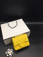 Wholesale Popular Bags - Caviar Style Popular Yellow 2017 Genuine Leather Shoulder Bags for Women Dress Style Zig Zag Versatile Small Flap Shoulder Bags 1115