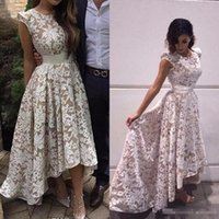 Wholesale Champagne High Low Dress Lace - Evening Dress 2017 New Elegant Cap Sleeves High low Special Occasion Dresses White Champagne Lining Lace Appliques Formal Party Prom Gowns