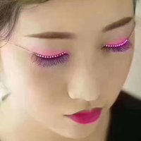 Wholesale Transparent Eyelid Tape - Fashion Flashes Interactive LED Eyelashes LED Light Eyelash Charming Unique Waterproof Eyelid Tape Nightclub DJ Deco Eyelash Glue Toys