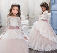 Wholesale Girls Princess Dress Up Cheap - Cheap Vintage Winter Flower Girls Dresses 2017 with Long Sleeves Lace Up Back Appliques Tulle Little Princess Birthday Gowns Communion Dress