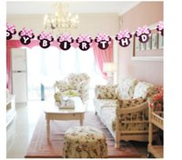 Wholesale High quality Minnie Head Mouse Happy birthday Paper Flags Party Bunting Banner for kids Birthday party Decoration