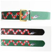Wholesale Man Snake Pattern - 2017 New Designer Famous Fashion Snake Pattern Women Men Belts Male Waist Strap Real Leather Pin Buckle Cowskin G Belt Black Green