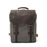 Wholesale Large Capacity Student Backpack - Canvas bag Europe and America men's and women's Retro double shoulder bag travel large capacity student computer bag