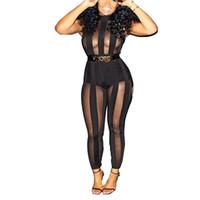 Wholesale Sexy Legging Outfits - Wholesale- 2016 new Fashion Women sexy jumpsuit Summer Outfits combinaison femme Mesh Legging night club party jumpsuit Romper salopette