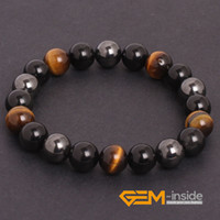 Wholesale Hematite Bracelet Wholesalers - Wholesale- Tiger Eye & Hematite & Black Obsidian Natural Stone Bracelet Energy Jewelry Bracelets For Women Free For Gift Shipping