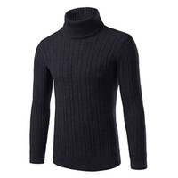 Wholesale men s cashmere sweaters - Wholesale- 2016 Winter Thick Warm 100% Cashmere Sweater Men Turtleneck Men Brand Mens Sweaters Slim Fit Pullover Men Knitwear Double collar