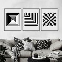 soyut modern siyah beyaz tuval resmi toptan satış-İskandinav Modern Siyah Beyaz Soyut Geometrik Şekil Bar Tuval Büyük A4 Sanat Baski Poster Duvar Resimleri Ev Dekorasyonu Boyama Yok Çerçeve