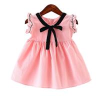 Wholesale Korean Little Baby Girl Dress - Baby Girls Summer Cotton Dress Cute Preggy Style Dress Pure Color Korean Version Little Girls Summer Dress