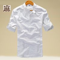 Wholesale flax dress xl - Wholesale- Mens Linen Shirts Three Quarter Rolled Sleeve Mandarin Collar Cotton Shirts Slim Fit Mens Flax Dress Shirts Camisa TS-116