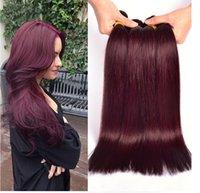 kırmızı bordo kümes saç toptan satış-Bordo Brezilyalı perulu düz Dalga 3 Adet / grup Saç Örgü Demetleri Kırmızı Şarap 99J Insan Bakire Saç