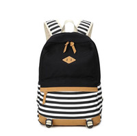 Wholesale Travel Backpacks Zipper For Women - 2017 patchwork canvas school bags striped backpack for girls casual travel backpack casual backpack women drop shipping MN245
