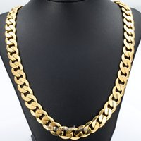 Wholesale Cuban Link Wholesale - Wholesale- Davieslee 18-36INCH 12MM CUT CURB CUBAN Chain Necklace Mens Chain Womens Chain Gold Filled Jewelry Party Daily Wear DLGN270