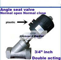 Wholesale Pneumatic actuated threaded ends angle seat valve G3 inch normal open normal close double acting steam plastic head SS304 body