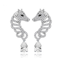 Wholesale LUOTEEMI Brand New Unique White Gold Plated Horse Stud Earrings For Women Elegant Jewelry Animal Zirconia Earrings Christmas Gift