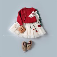 Wholesale Horse Skirt - 2017 Autumn Girl Clothing Set Children Suit 2PCS Tassel Long-Sleeve Horse Sweater Pullover + Lace Tutu Skirt Princess Sweet Twinset A7351