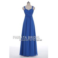 Wholesale Long Leather Dresses Cheap - Elegent Cheap Prom Dresses Long Royal Blue Chiffon A Line Evening Dresses 2017 Floor Length Backless Exquisite Straples Evening Party Gowns