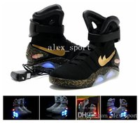 Wholesale Easter Led Lights - 2016 Air Mag AKA Marty McFly Basketball Shoes Back To The Future Glow In The Dark Sole Mag Limited Edition Air Mags Sneaker Led Lights