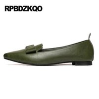 Wholesale Cheap Footwear China - China Women Footwear Flats Green 2017 Bow Brown Walking Breathable Chinese Cheap Shoes Hollow Out Pointed Toe Drop Shipping