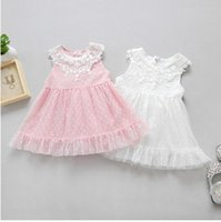Wholesale Dress Sweet Lace Dot - Baby clothes 2017 summer new toddler kids lace embroidery princess vest dress children gauze polka dots dress sweet kids clothes T2119