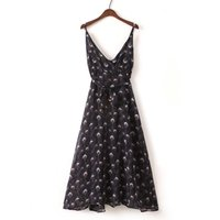 Wholesale Wholesale Peacock Print Dress - Wholesale New Arrivals Women Flower Print Dresses peacock Print V-neck Sling bowknot Dress Lovely Style pullover Casual Work Party Dresses