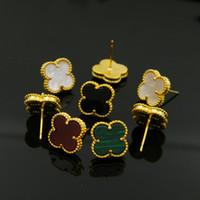 clous d'oreilles pierre de lune or achat en gros de-2019 Bijoux fantaisie en gros agate coquille noire et blanche naturelle à quatre feuilles fleur boucles d'oreilles en cuivre plaqué or 18 carats
