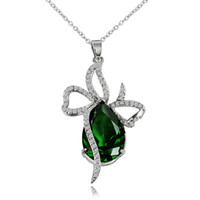 Wholesale Royal Emerald Jewelry - Large Green Emerald Pear Teardrop Crystal Bowknot Pendant Necklace Royal Luxury Princess Teardrop Charm Perfect Gift Fashion Jewelry