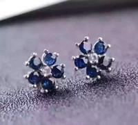 pendientes de zafiro azul oro al por mayor-Nuevo Whosesale 925 Sterling Silver con 18K chapado en oro Natural Sapphire Earrings para mujer genuino Blue Gemstone Fashion Jewelry