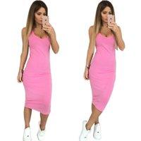 Wholesale Strechy Dresses - Wholesale- Women Fashion Sexy Round Neck Bodycon Strechy Dress 2017 New Solid 4 Colors Mid-Calf Package Hip Dress Vestidos Plus Size X0181