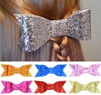 Wholesale Clips Accessories Baby Girl Felt - Glitter Felt Hairpins Girls hairpins bow hair clips kids sequins children princess accessories Baby Girls Kids Hair Barrette Gold Clip A0001