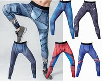 Wholesale White Ripped Leggings - Mens compression hero running pants Sports tights gym Captain America superman batman flash black panther fitness skinny leggings trousers