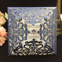 Wholesale Wedding Laser Card - 2018 Navy Blue Free Printed Wedding Invitations Cards With Hollow Out Rustic Laser Cut Invatation Card Flowers Elegant Party Invites