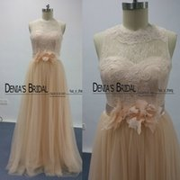 Wholesale Bridesmaid Real Flowers - Blush Bridesmaid Dresses 2016 Real Images Lace Sheer Bateau Neckline Flowers Belt Tulle Floor Length Long Maid of Honor Dresses Dhyz 01