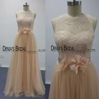 Wholesale Navy Belt Dress - Blush Bridesmaid Dresses 2016 Real Images Lace Sheer Bateau Neckline Flowers Belt Tulle Floor Length Long Maid of Honor Dresses Dhyz 01
