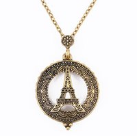 Wholesale Eiffel Tower Pendant Necklace - 2017 new gold plated Trendy Vintage magnifying glass Eiffel Tower chain pendant Necklace for Women Statement Jewelry wholesale Free shipping