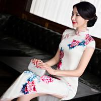 Wholesale Printed Peony Sheath Dress - Women Vintage casual dress high-grade long cheongsam peony print cheongsam silk qipao dress chinese traditional dress