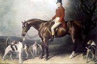 Wholesale Oil Painting Hunting - Framed c19th Victorian Hunter Top Hat Fox Hunting Horse Hound Dog,genuine Pure Handpainted Equestrian Art oil Painting Multi sizes HS044
