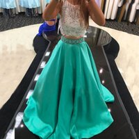 Wholesale Turquoise Open Back Prom Dress - Elegant Prom Dress 2017 Turquoise Prom Dresses 2 Pieces Open Back Sheer Neck Sleeveless A Line Evening Party Gowns Custom Made