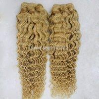 Wholesale Blonde Deep Wave Remy Extensions - 7A Pure Color Bleach Blonde hair weave brazilian naturel deep wave 1pcs lot Blonde human remy hair extensions 8-26 Inch