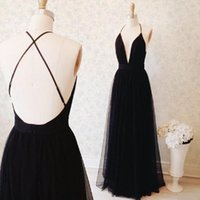 Wholesale Price Sexy Girls - 2017 Sexy Black Backless Prom Dresses Deep V-neck Spaghetti Straps A-line Tulle Long Evening Party Gowns For Girls Real Photo Cheap Price