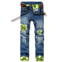 Ripped Jeans Men Straight Metrosexual Slim Jeans And Trousers Ткань Тигр Личность Мужчины Брюки