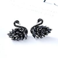Wholesale Black Gem Stud Earring - Brand Swarovski Elements Swan Crystal Stud Earrings Individual Female Earrings Inlaid Gems Anti Allergy Best Gift