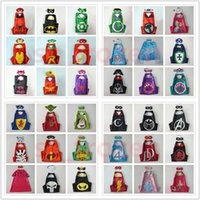 Wholesale Christmas Star Design - 63 Designs 70*70cm Double layer Cape with Mask kids Cosplay Superhero Capes and Mask for Kids Christmas Halloween Cosplay Prop Costumes