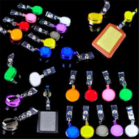 Wholesale 600pcs random color Plastic Reels Retractable for ID Card Badge Holder YOYO Solid Business Card Files