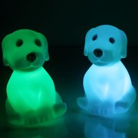 Wholesale Small Color Changing Led Lights - Color Changing Battery Operated LED Night Light Children Kids Bedroom Mini Table Desk Lamp Small Cute Dog Animal Shaped Night Lightings