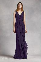 Wholesale V Neck Long Dress Grape - Grape Chiffon Bridesmaid Dresses 2017 Modern V Neck Sleeveless Ruffles Wrapped Bodice Sheath Long Outfit Floor Length