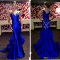 Wholesale Cap Usa Classic - Inspired Royal Blue Evening Dresses Sheer Neck Sleeveless Ruffles Count Train Satin Mermaid Beading 2017 Miss USA Pageant Party Gowns Formal
